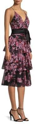 Aidan Mattox Women's Embroidered Floral Dress - Red Multi - Size 0