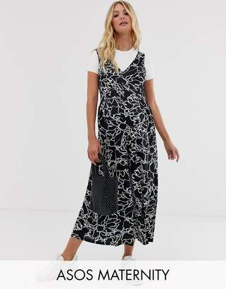 Asos DESIGN Maternity curved smock jumpsuit in mono abstract print