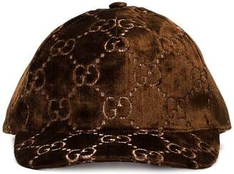 bef73a43b86 Gucci brown GG embroidered silk-blend baseball cap