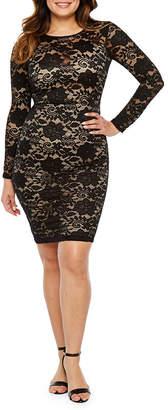 PREMIER AMOUR Premier Amour Long Sleeve Floral Lace Sheath Dress