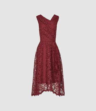 Reiss Rayna - Wrap Front Lace Dress in Wine Berry
