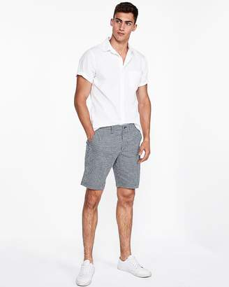 Express Slim Fit 9 Inch Gingham Flat Front Shorts