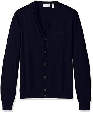 Lacoste Men's Button Cardigan with Pique Stitch Long Sleeve Sweater