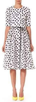 Carolina Herrera Polka-Dot Fit & Flare Midi Dress