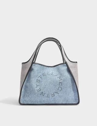 Stella McCartney Eco Denim Overdyed Stella Logo Tote Bag in Denim and Blush Eco Fabric