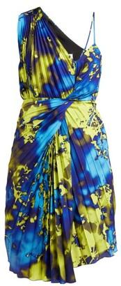 MSGM Tie Dye Pleated One Shoulder Dress - Womens - Yellow