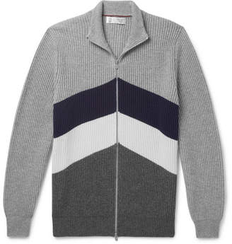 Brunello Cucinelli Slim-Fit Chevron Ribbed Cashmere Zip-Up Cardigan