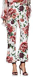 Dolce & Gabbana Women's Peony-Print Cady Trousers - White