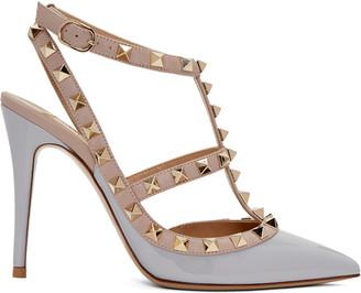 Valentino Grey Rockstud Cage Heels $995 thestylecure.com
