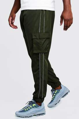 boohoo Big & Tall Cargo Joggers With Reflective Piping