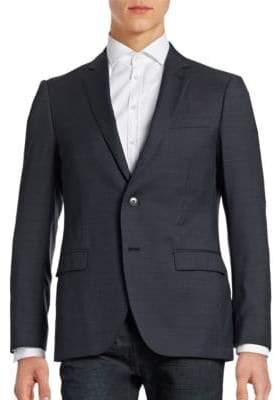 Black Brown 1826 Jack Slim Fit Wool Traveller Suit Jacket