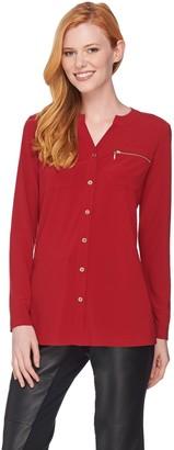Susan Graver Textured Liquid Knit Shirt with Zipper Pockets