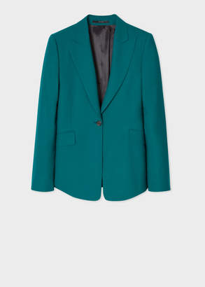 Paul Smith Women's Slim-Fit Teal One-Button Wool Blazer
