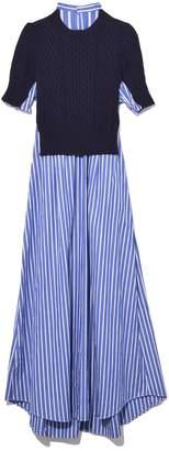 Sacai Cotton Poplin Dress in Navy/Stripe