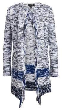 St. John Women's Vertical Fringe Multi Knit Tweed Jacket - Blue Multi - Size Large