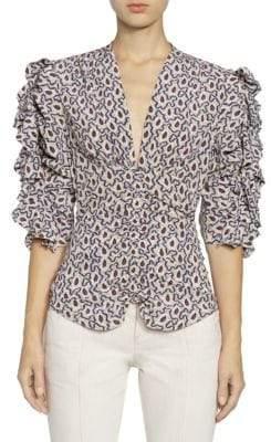 Isabel Marant Andora Silk Ruffled Blouse