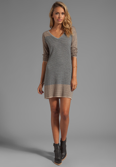 C&C California Mini Stripe Blocked Sweaters Long Sleeve V-neck Stripe Sweater Dress