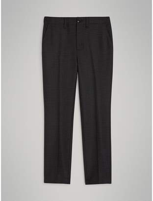 Burberry Prince of Wales Check Wool Tailored Trousers , Size: 8Y, Grey