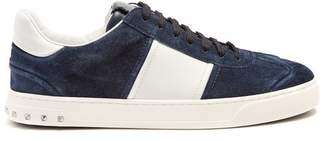 Valentino Fly Crew Low Top Leather Trainers - Mens - Navy Multi