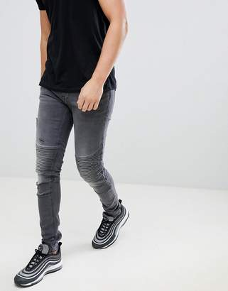 Blend of America super skinny biker jeans in gray
