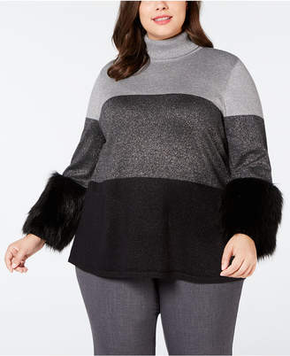 Alfani Plus Size Faux-Fur-Cuff Colorblocked Turtleneck Sweater