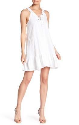 J.o.a. Lace-Up V-Neck Dress