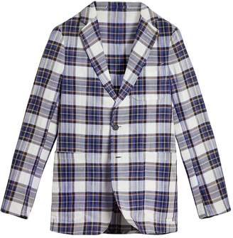 Burberry Soho Fit Check Ramie Cotton Tailored Jacket