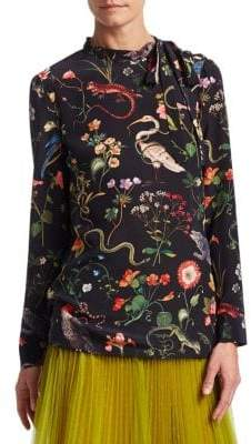 RED Valentino Silk Animal-Print Blouse