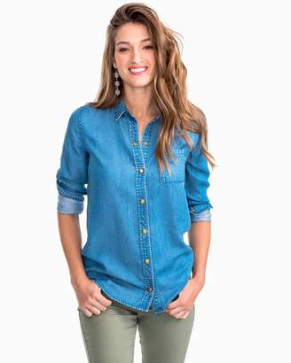Southern Tide Emery Snap Front Tencel Denim Shirt