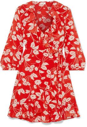 Rixo Abigail Floral-print Silk-crepe Wrap Dress