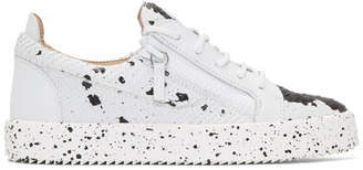 Giuseppe Zanotti White and Black Croc Frankie Sneakers
