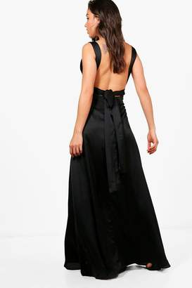 boohoo Satin Bow Back Maxi Dress