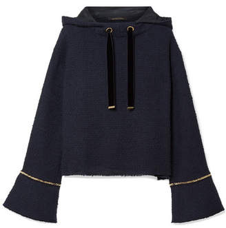 Mother of Pearl Max Chain-trimmed Cotton-tweed Hooded Sweatshirt - Midnight blue