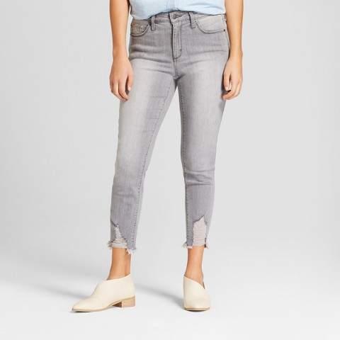 Universal Thread Women's High-Rise Destructed Hem Skinny Crop Jeans - Universal Thread Gray Wash