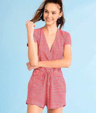Vineyard Vines Knit Red & White Stripe Crossover Romper