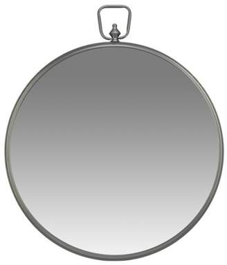 "Gunmetal Round Wall Mirror with Decorative Handle 26""x30"" by Patton Wall Decor"