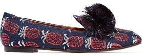 Aquazzura Wild Fringed Metallic Jacquard Slippers