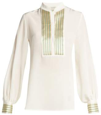 Zeus + Dione - Mira Jacquard Trimmed Silk Blouse - Womens - Cream Gold