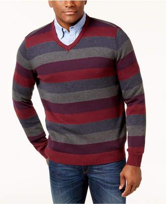 Club Room Men's Striped V-Neck Sweater