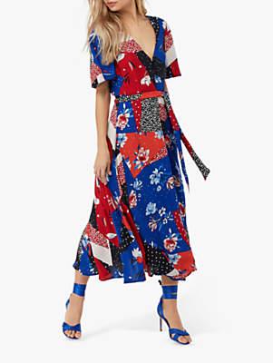 Monsoon Patchwork Poppy Print Tea Dress, Navy