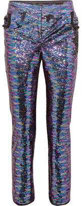 Balmain Sequined Frayed Crepe Straight-leg Pants - Violet