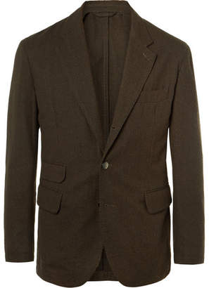 MAN 1924 Olive Kennedy Puppytooth Cotton And Wool-Blend Blazer