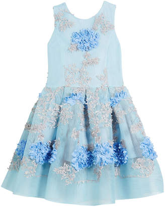 Neiman Marcus Zoe Perforated Mesh Flower-Embroidered Dress, Size 2-6X