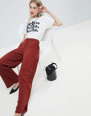 Warehouse wide leg pants in rust