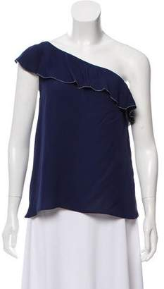 Joie One-Shoulder Silk Blouse
