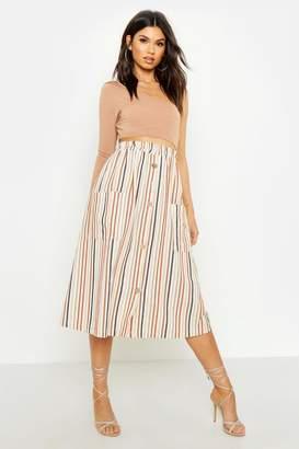 boohoo Linen Tonal Stripe Button Front Midi Skirt