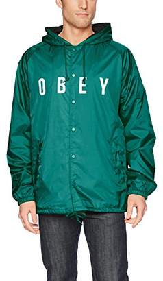 Obey Men's Anyway Hooded Nylong Coaches Jacket