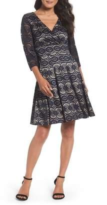 Eliza J Bell Sleeve Fit & Flare Lace Dress