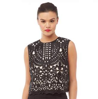 Ted Baker Womens Falisia Lace Contrast Trim Top Black