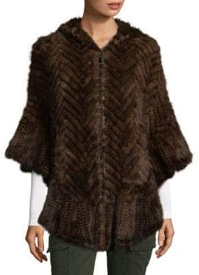 Mink Fur Herringbone Poncho